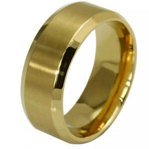 Size14 Yellow Gold plated wide unisex Ring Band